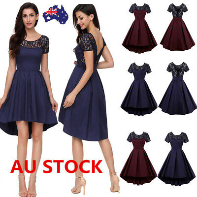 Women 50s Vintage Lace Backless Swing Dress Evening Formal Cocktail Party Dress