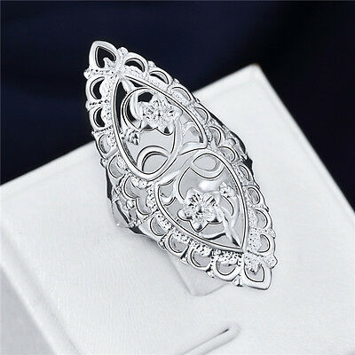 beautiful lovely 925 sterling Silver Wedding Flower retro women Ring jewelry