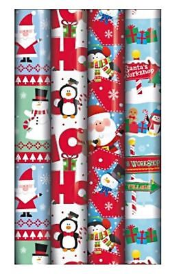 4 x 5M Christmas Gift Wrap Wrapping Paper Rolls Kids Cute Santa Workshop Present