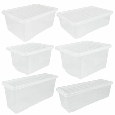 Wham Crystal Clear Plastic Storage Box Secure Clip on Lid-Under Bed Space Save  sc 1 st  PicClick UK & WHAM PLASTIC STORAGE Shelf Box Stackable Containers Clear With ...