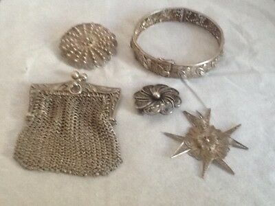 Job lot silver and white metal jewellery