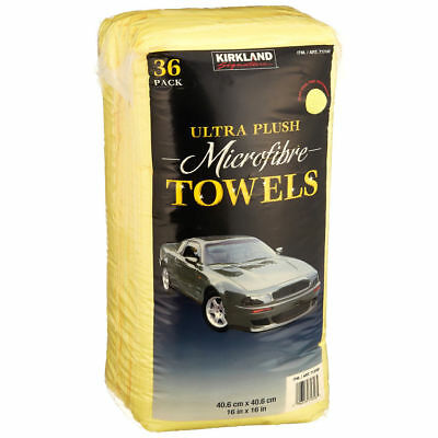 Kirkland Signature 40cm Microfibre Cloths Ultra Yellow Soft Towels 2 Packs 36 Co