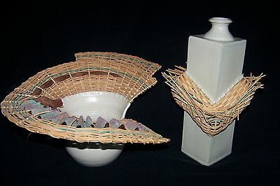 Art Pottery, Unique Hand Crafted Two Pieces Designed By Ashley