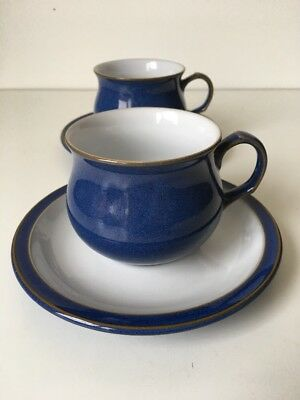 2 Denby Imperial Blue Coffee Tea Cups & Saucers Others Available