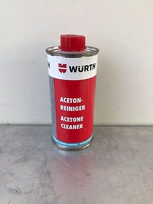 WURTH ACETONE CLEANER 250ml EFFECTIVE AND RAPID CLEANING AND DEGREASING OF METAL
