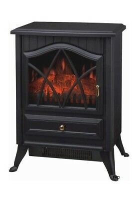 2000W Black Log Burning Flame Effect 2KW Electric Fire Heater Fireplace Stove