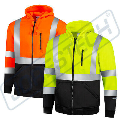 Men's ANSI Class 3 High Visibility Class 3 Sweatshirt, Full Zip Hooded Jorestech