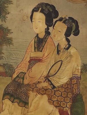 Antique Signed Chinese Scroll Painting on Silk