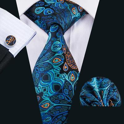 USA Peacock Blue Necktie Green Floral Mens Tie Sets For Wedding Party Business