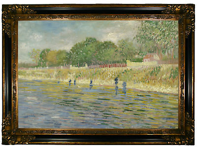 van Gogh Bank of the Seine 1887 Wood Framed Canvas Print Repro 19x28