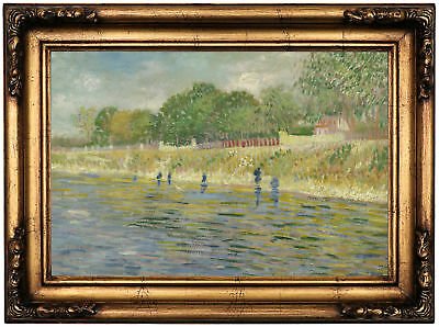 van Gogh Bank of the Seine 1887 Wood Framed Canvas Print Repro 12x18