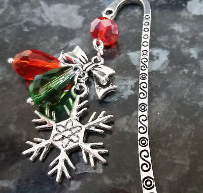 Christmas Red and Green Charm Bookmark Silver Snowflake