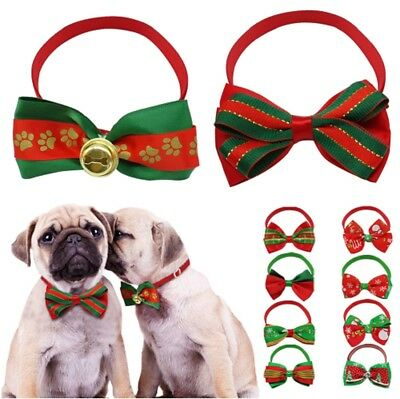 Christmas Cat Dog BowTie Collar With Bell Adjustable Collar Puppy Bow Tie Xmas