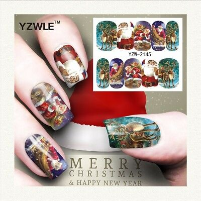 Nail Art Water Decals Stickers Christmas Santa Clause Reindeer Snowflakes (A145)