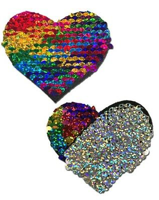 Sweety:Rainbow & Silver Glitter Color Changing Heart Nipple Pasties by Pastease