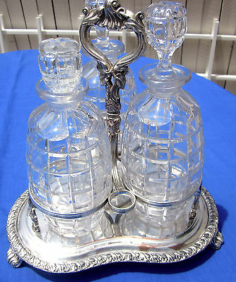 Antique Silverplate Tantalus 3 Original Cut Crystal Decanters Very Good Cond.