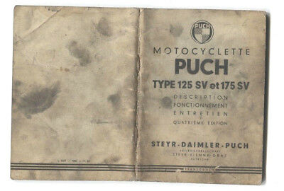 N°10983 /  notice technique motocyclette PUCH type 125 SV et 175 SV   1956