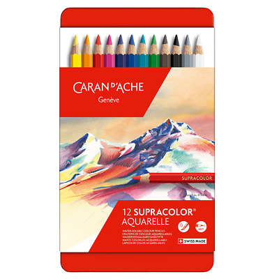 Caran D'Ache Supracolor Artist Quality Colour Pencil 12 Set Soft Water Soluble