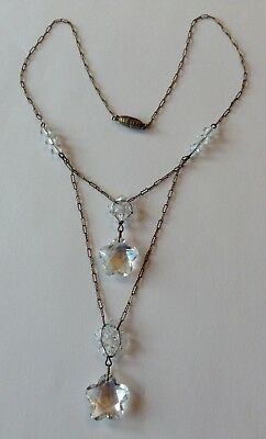 Vintage Art Deco Crystal Star Glass Bead Lariat Necklace