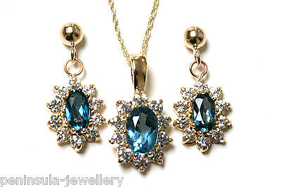 9ct Gold London Blue Topaz Cluster Pendant and Earring Set Gift boxed Made in UK