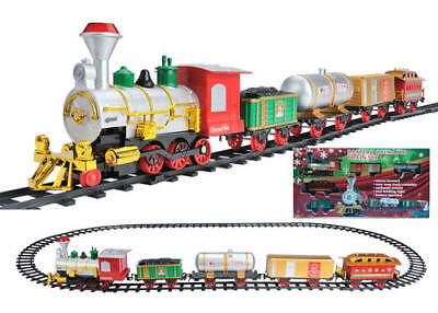 NEW Battery Operated Holiday Express Train Set Real Lights & Sounds