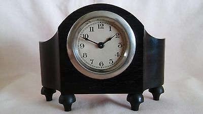 Vintage  Rare Real Ebony Wood Small Mantle Piece Clock In Good Used Vintage Cond