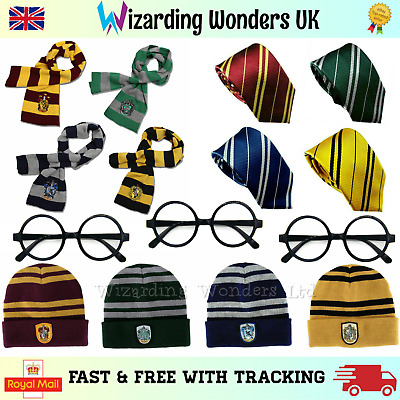 Harry Potter Scarf Hat Tie Glasses Gryffindor Slytherin Ravenclaw Hufflepuff