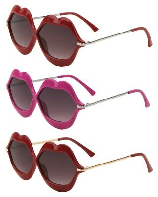 Smooch Kiss Bold Sexy Lips Plastic Metal Frame Lolita Sunglasses Oversized Retro