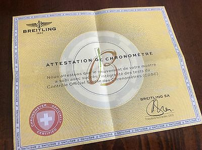 Breitling COSC Certificate Of Authenticity for Breitling Chronomat