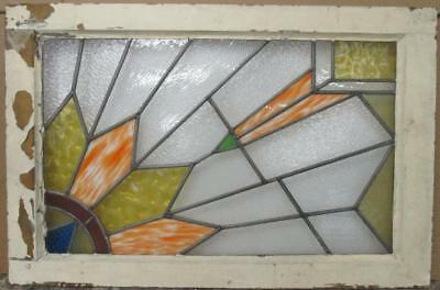 "LARGE OLD ENGLISH LEADED STAINED GLASS WINDOW Beautiful Geo. Burtst 34"" x 23"""
