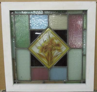 """OLD ENGLISH LEADED STAINED GLASS WINDOW Handpainted Floral 21.75"""" x 21.75"""""""
