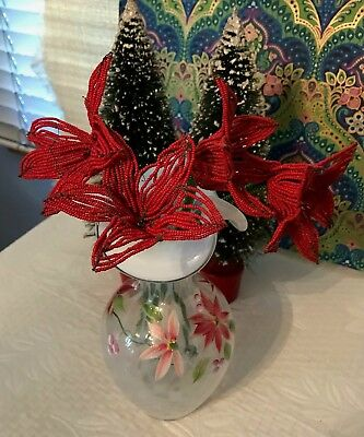 Vintage FRENCH GLASS BEADED FLOWERS Bouquet of 4 Red 5 Petal Flowers