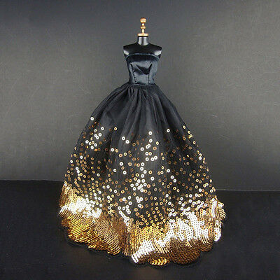Amazing Gold Sequins Black Dress Fit for Barbie Doll Children Gift doll Dress QY