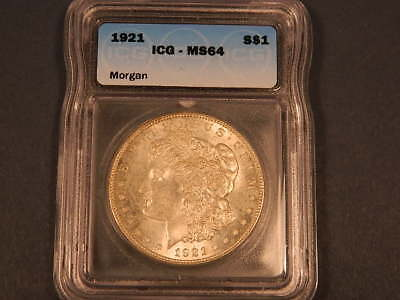 1921 $1 MORGAN SILVER DOLLAR ICG Graded MS 64 GOOD LUSTER!!!