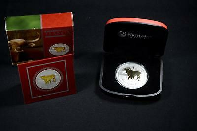 2009 Australia Lunar Series Gilded Silver Troy 1 Ounce Year Of The Ox Perth Mint