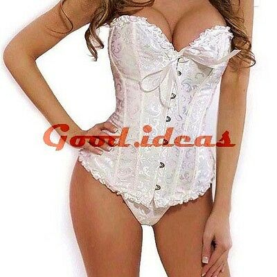 Sexy White Lace Up Back White Satin Corset Bustier Lingerie + G-string Set S-XL
