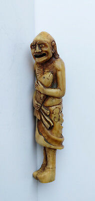 Old Japan Netsuke Taoist Deity Old Man Nice Ribs with a Carp Large Fish Smiling