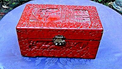 """ANTIQUE 18c CHINESE LARGE WOOD CARVED RED LACQUER3ED CINNABAR HINGED BOX 12""""L"""