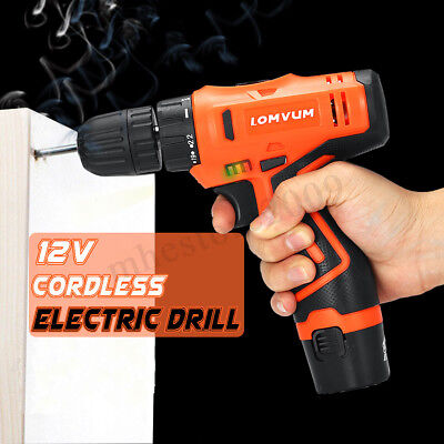 12V Li-Ion Cordless Electric Hammer Drill Driver Hand 1 Speed LED Light Charger