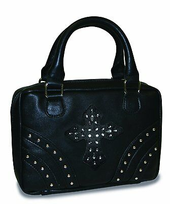 Divinity Boutique Bible Cover Black with Rivets and Black Gem Cross - Extra
