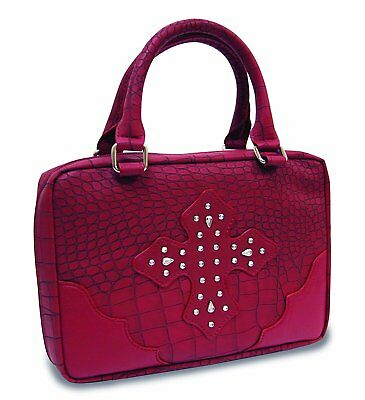 Divinity Boutique Bible Cover Red Croc with Red Gem Cross - Large 22441