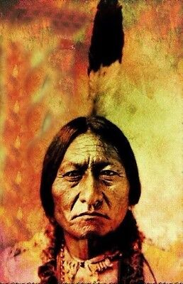 Native American Art (Sitting Bull) (Chief) Rare Oil Hand Painting Portrait