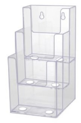 Source One LLC 4-Inch Wide 3 Tier Premium TriFold Acrylic Brochure Holder, Clear