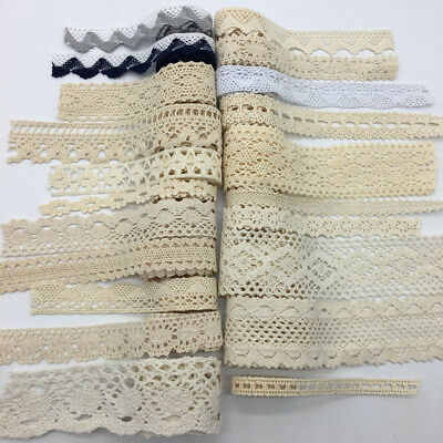 2yard Apparel Sewing Fabric Trim Cotton Crocheted Lace Fabric Ribbon Crafts #UK