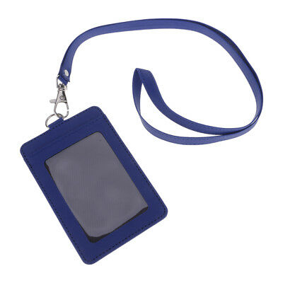 Leather Solid Card Holder ID Card Identity Badge Holder Case With Neck Lanyard