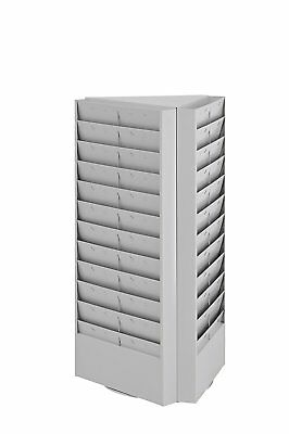 Buddy Products 3-Sided Rotating Brochure Rack, 17 x 15 x 30.4 Inches, Platinum