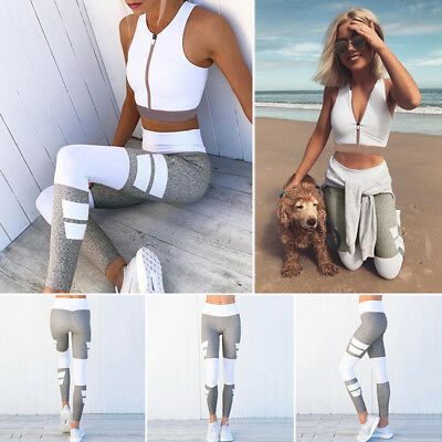 Women Yoga Fitness Pants Leggings Set Gym Workout Sports Wear Running Trousers