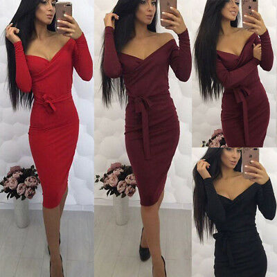 USA New Sexy Women's Bandage Bodycon Long Sleeve Club Party Cocktail Mini Dress