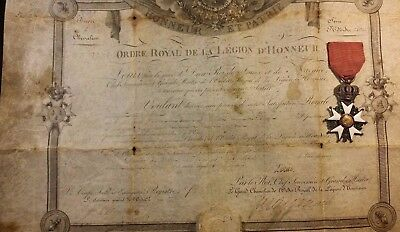 Knight Royal Order of the Legion of Honor Diploma 1820 & Order Legion of Honor
