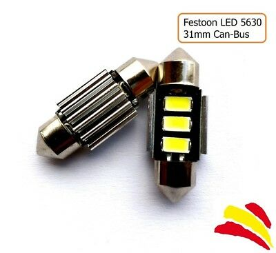 x2 BOMBILLAS COCHE FESTOON C5W 31MM 3 LED SMD 5630 MATRICULA CANBUS NO ERRORES